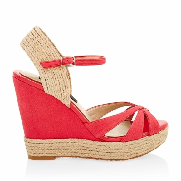 84ce09406d7 Like New WHBM Red Adaira Espadrille Wedge Sandals